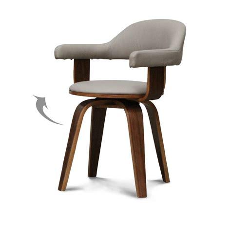 chaise su 233 doise pivotante simili cuir taupe et bois