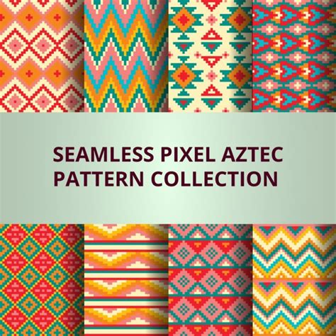 pixel pattern coreldraw eight colorful pixel patterns with aztec decoration vector