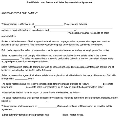 Sales Representative Agreement Template Mortgage Sales Contract Template
