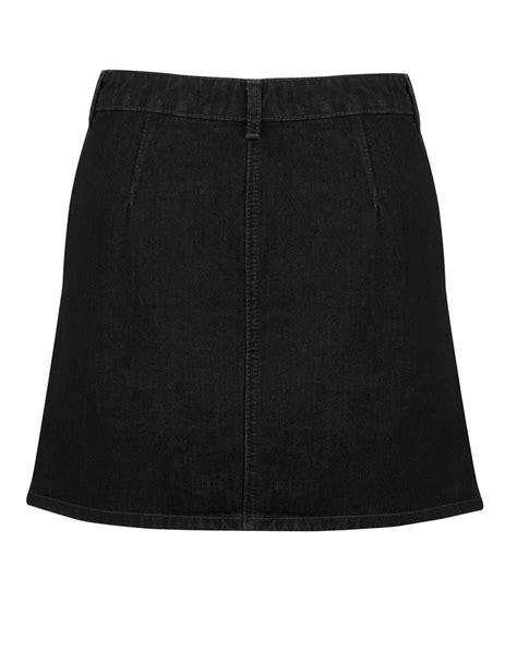 miss selfridge button front denim skirt in black lyst