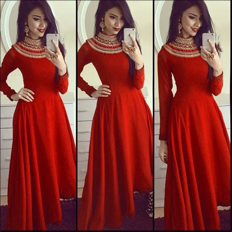 gaun dress design with price rayon embroidered semi stitched ethnic gown red zipker com