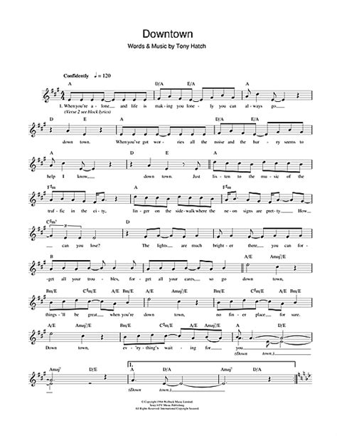 printable downtown lyrics downtown chords by petula clark melody line lyrics