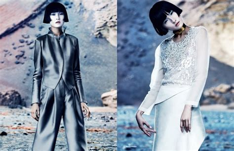 futuristic style wang xiao dons futuristic style for elle uk march 2013 by