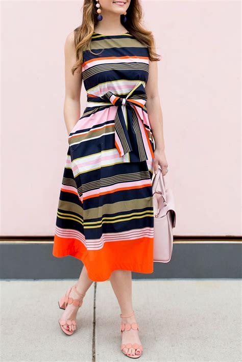 multicolor stripe fit and flare midi dress