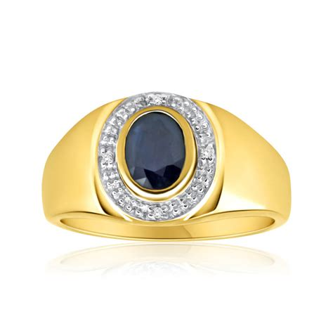 sapphire and gents ring in 9ct gold westfield