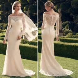 free shipping vintage lace long sleeve wedding dress 2015