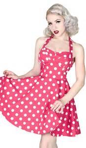 Hot pink amp white 50s vintage style polka dot halter dress pd pink