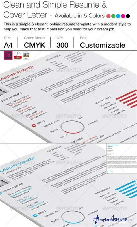 Simplus 1 Or 2 Simple And Clean Resume 7238629 by Graphicriver 2 Clean Simple Resume With Cover Letter