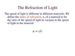The Speed Of Light In A Vacuum Is by Ppt Investigating Refraction Of Light Powerpoint