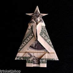 Tree Dollar Bill Origami - money origami tree with gift made out