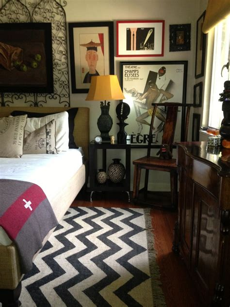 handsome mans bedroom black and white chevron rug home