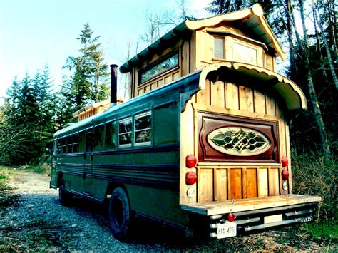 tiny house bus green cedar bus tiny house swoon