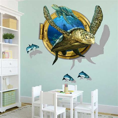 removable diy 3d sea turtles decorative wall stickers