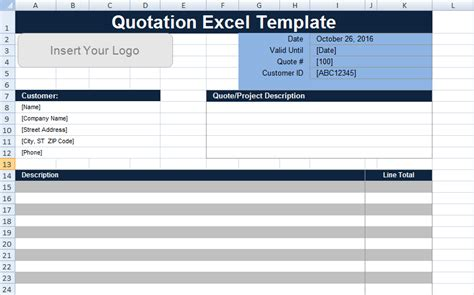 quotation template xls free quotation template excel uk project management