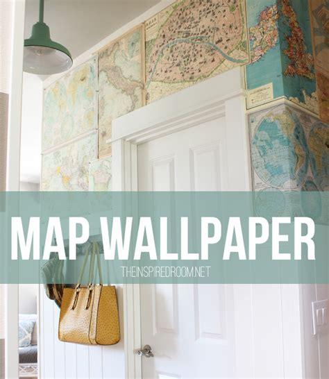 wallpaper for walls diy my diy map wallpaper small hallway the inspired room