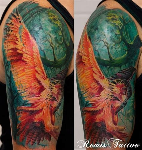 tattoo owl color amazing color on this owl tattoo sleeve tattoo art