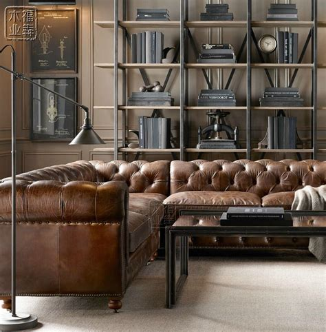 Club American Oil Wax Leather Sofa Corner Leather Sofa