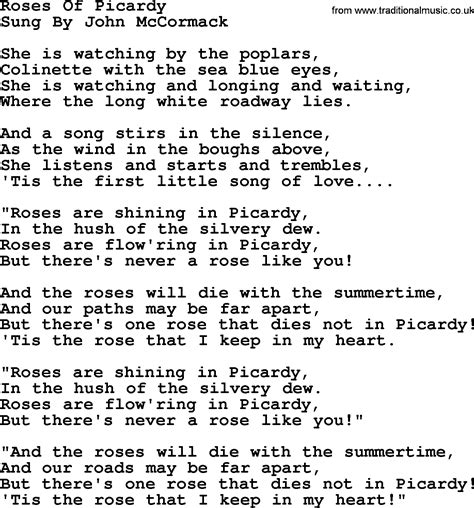 song ware world war one ww1 era song lyrics for roses of picardy