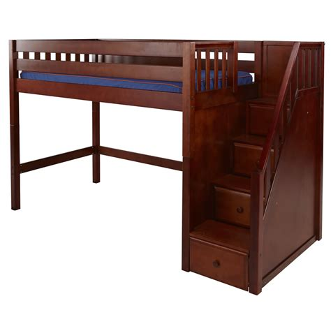 Mid Bunk Bed Maxtrix Galant Mid Loft Bed In Chestnut W Stairs Slat Bed Ends 405 0