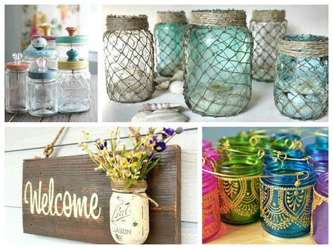 glass decorations for home mason jar crafts inspiration diy room decoration ideas