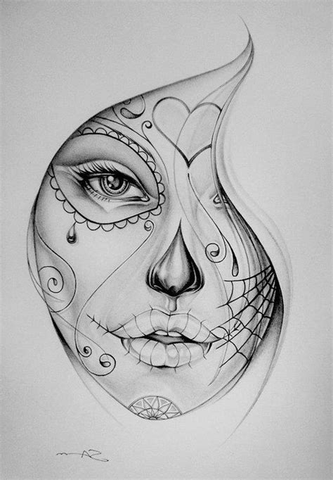 woman face tattoo designs tattooed pencil and in color tattooed