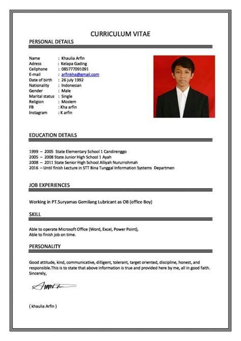 Contoh Resume Yg Lengkap by Contoh Daftar Riwayat Hidup Yang Baik Dan Benar Tulis