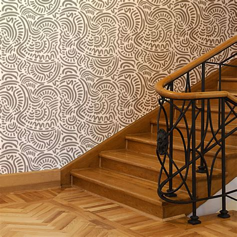 home decor stencils large ethnic wall stencil elroy for diy wallpaper look