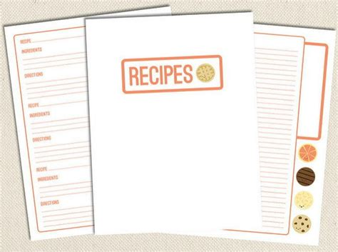 sweet free printable recipe pages allfreepapercrafts com