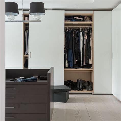 modern white bedroom with fitted wardrobe decorating