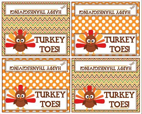 printable turkey toes turkey toes bag topper happy thanksgiving printable