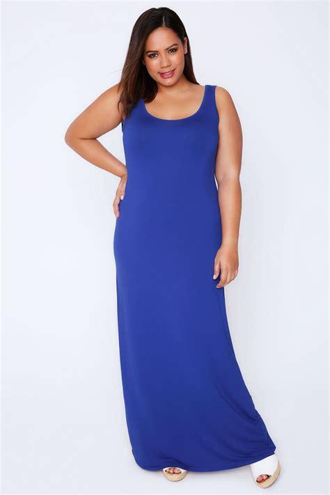 blue plain sleeveless jersey maxi dress  size