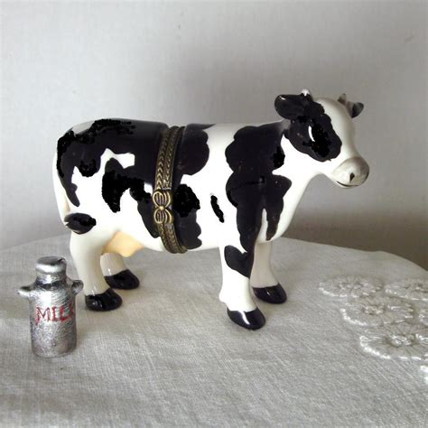 cow box cow box black and white cow porcelain box limoges box