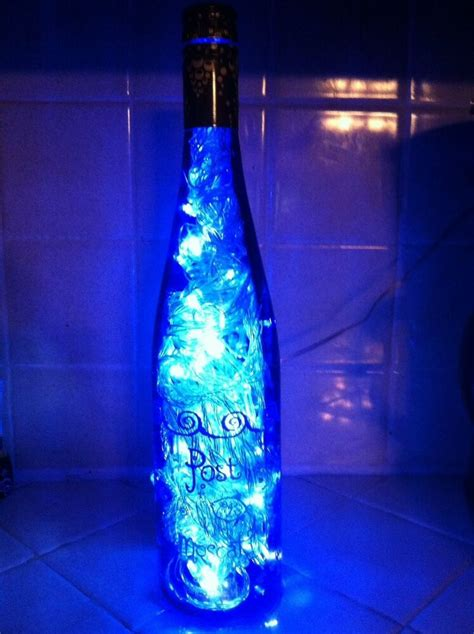 decorative lighted post moscato bottle   clear led