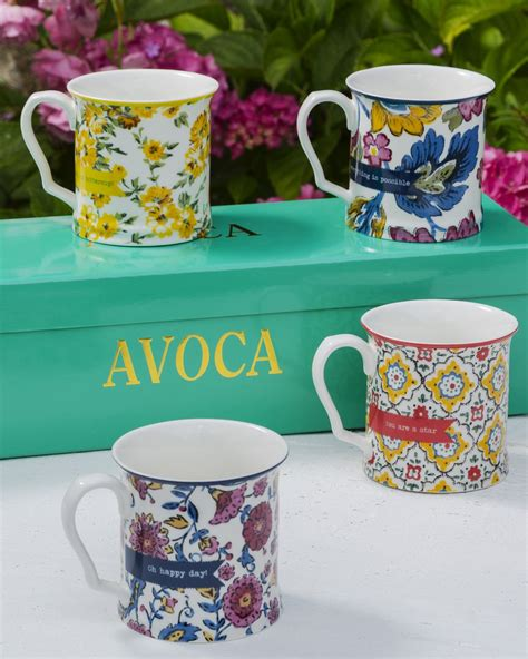 Flowers Mug set of four flower mugs home food avoca