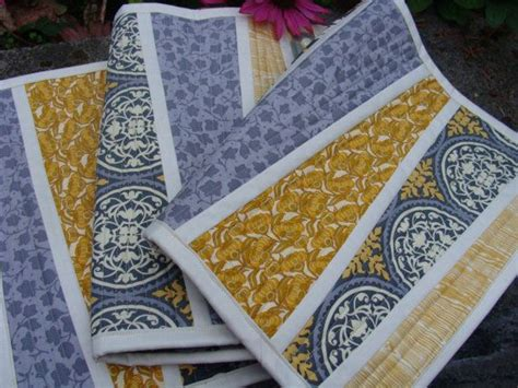 yellow pattern table runner sophisticated modern yellow and gray table runner