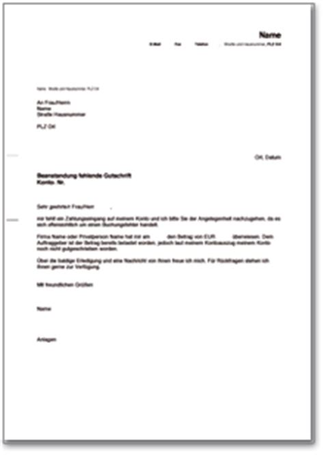 Anschreiben Adrebe Ansprechpartner Brief An Die Bank Wegen Fehlender Gutschrift De Musterbrief