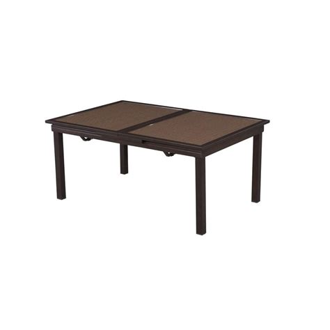 Extendable Patio Dining Table Hton Bay Tobago Rectangular Extendable Patio Dining Table 15111584text The Home Depot