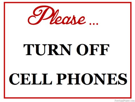 turn off cell phones and mute electronic devices signs