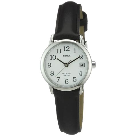 timex indiglo easy reader white black leather
