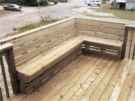 wrap around bench seating deck bench but wrap around 3 sides and put a table in