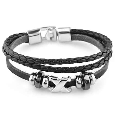 Bracelet homme cuir 3cordons perles croix acier   BijouxStore   webid:1383