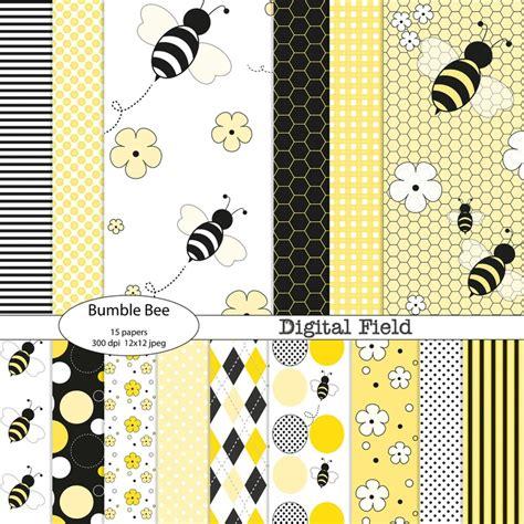 printable paper pack yellow black bumble bee printable digital paper pack 15