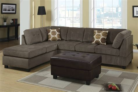 microfiber sectional couch poundex radford f7263 gray microfiber sectional sofa in