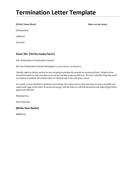 termination letter format in doc doc 501686 employment termination letter template