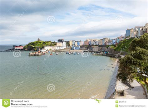 Tenby Wales Cottages by Tenby Wales With Pastel Coloured Cottages Stock Photo