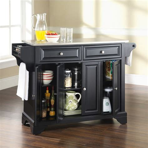 stainless steel top kitchen cart island in black finish crosley furniture lafayette stainless steel top kitchen