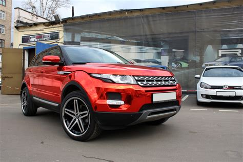 chrome land rover range rover evoque gets the red chrome treatment in russia