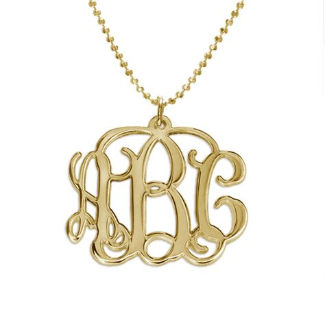 18k gold plated monogrammed pendant mynamenecklace