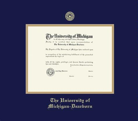 Of Michigan Dearborn Masters Diploma Mba by Custom Diploma Frames Certificate Frames Framing