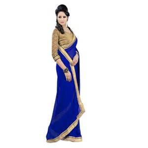 Sofa Coaster Janasya Blue Chiffon Saree